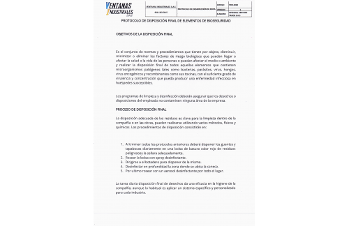 PROTOCOLO DE DESINFECCIÓN EN EL ÁREA DE LAS OBRAS