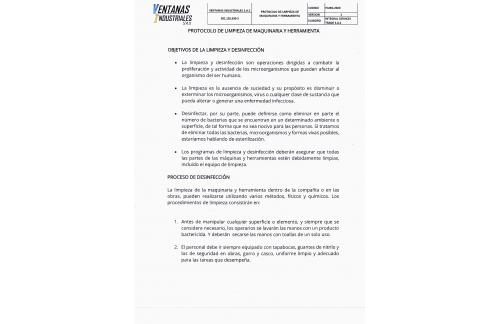 PROTOCOLO DE LIMPIEZA DE MAQUINARIA Y HERRAMIENTAS