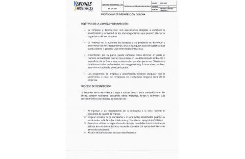 PROTOCOLO Y DESINFECCIÓN DE ROPA